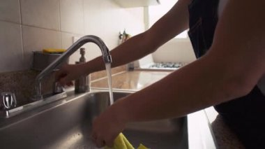 Wife Woman Doing Chores Cleaning Wipe Under Kitchen Sink Water — Vídeo de Stock