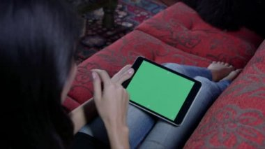 Woman Touching Ipad Green Screen Computer Monitor Internet Web Site — Stock Video