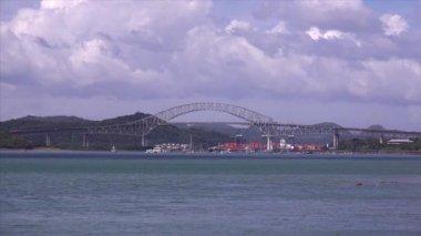 Panama City Canal Bridge Of The Americas Puente De Las Americas — Stock Video