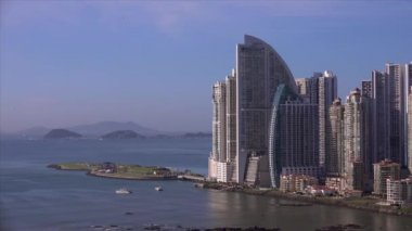 Panama City Trump Tower Hotel And Artificial Amador Islands 4K — Stock Video