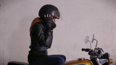 Motorbike Motorcycle Happy Girl Woman Biker Driving Bike With Helmet — Stock Video