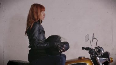 Motorcycle Motorbike Happy Redhead Girl Woman Biker Riding Bike Smiling — Stock Video