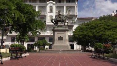 Panama City Central America Statue Herrera In Casco Antiguo 4K — Stock Video