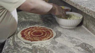 Healthy Food Preparation Pizza Making Restaurant Kitchen Mediterranean Diet Italy — Stock Video