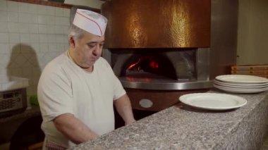 Man Cook Making Pizza In Italian Restaurant Kitchen Food Preparation — Stock Video
