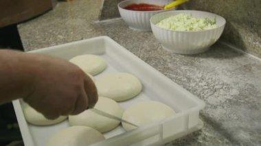Pizza Making Food Preparation Chef Working In Italian Restaurant Kitchen — Stock Video