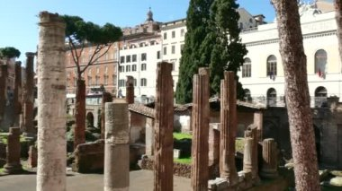 Ruins Archaeology Excavations Art Monument Roman Temples In Rome Italy — Stock Video