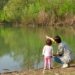 Nature Lake Pond Mother Mom Woman Family Girl Child Recreation — Stock Video #70522979