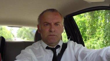 Man Businessman Commuter People Driving Car Using GPS Navigator Device — Stock Video