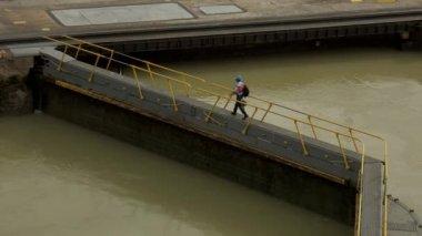 Cargo And Logistics Panama Canal Miraflores Locks-7 — Stock Video