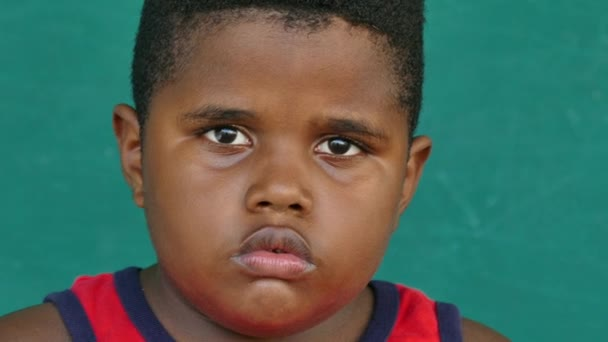 44 Black Children Portrait Sad Child Face Expression — Vídeo de stock