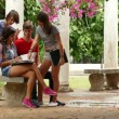 4 Education School College Students Friends Young People Talking Studying — Stock Video #78936774