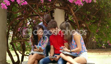 20 Happy Friends Young People Having Fun With Mobile Phone — Stock Video