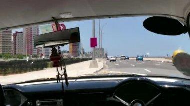 Old Car Near US Embassy In Havana Cuba — Stock Video