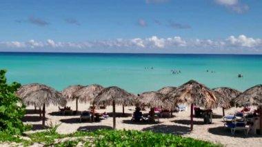 White Sand Beach And Caribbean Sea In Varadero Cuba — Stock Video