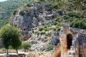 Ancient lycian tombs — Stock Photo