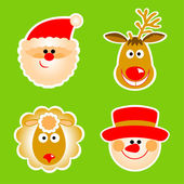 Santa Claus, reindeer, snowman and sheep — Stock Vector