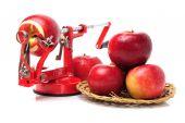 Red Apples and apple peeler — Foto de Stock