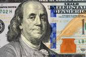 Macro close up of Ben Franklin's face — Stock Photo