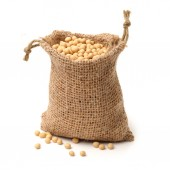 Dried chick peas in sack — Stock Photo