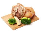 Raw pork (leg) isolated on white background — Stock Photo