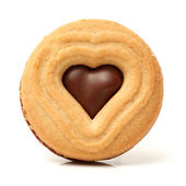 Cookie with chocolate heart — Stock Photo