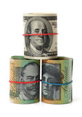 Different currency on white — Stock Photo