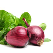 Red onions on white — Stock Photo