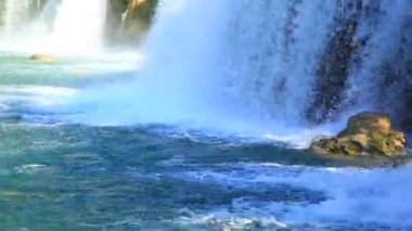 Waterfall in Krka National Park is one of the Croatian nature River — Stock Video
