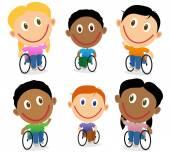 Wheelchair children character vector pack — Stock Vector