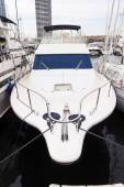 Bow of a yacht moored in Barcelona — Stock Photo