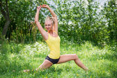 Young woman in sportswear working out outdoors in a park on sunn — ストック写真