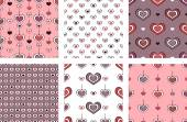 Vector seamless textures with hearts. — Vecteur