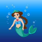 Illustration of a cute mermaid girl under the sea — Stock Vector