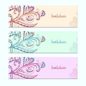 Set of invitation cards with floral ornament — Stock Vector