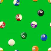 Set of color billiards balls, seamless pattern. — Stock Vector