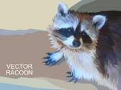 Vector racoon made of polygons. Eps 10. — Stock Vector