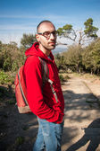Backpacker tourist in park — Stock Photo