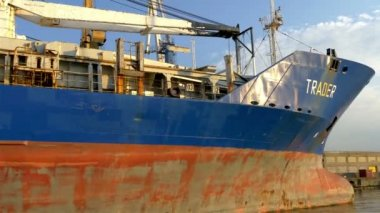The old rusty blue and red icebreaker ship named Trader GH4 — Stock Video
