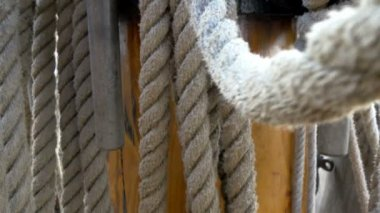 Huge set of ropes used on the big ship on the harbour GH4 — Stock Video