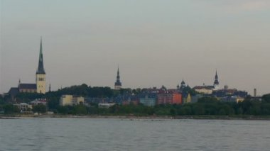 The old Tallin view of Estonia from the sea scape view GH4 — Video Stock