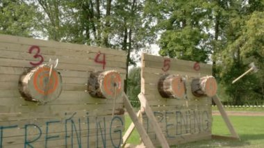 Four log boards with three axes on each — Stock Video
