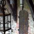 The old lamp inside the big old castle in Trakai — Stock Video #55246781