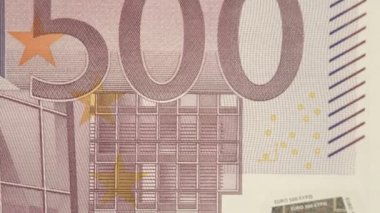 Closer look of the back detail of the 500 Euro bill — Stock Video