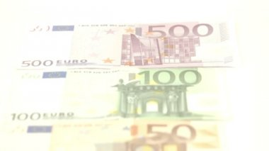Five Euro bills laid  on table — Wideo stockowe