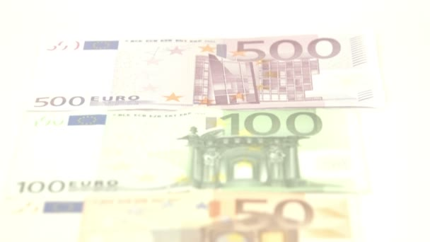Five Euro bills laid  on table — Vídeo de stock