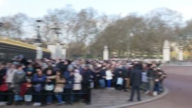 People are waiting outside the Buckingham Palace — Stock Video