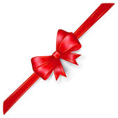 Red bow with gold strips — Vector de stock