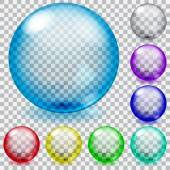 Colored transparent glass spheres — Stock Vector