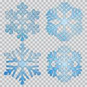 Set of transparent snowflakes — Wektor stockowy